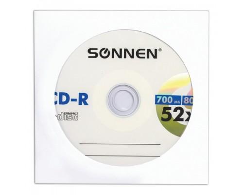 Диск CD-R SONNEN 700Mb 52x бумажный конверт