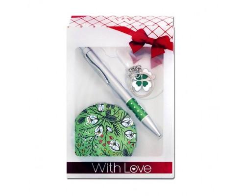 Подарочный набор Цветы (ручка +брелок+зеркало)