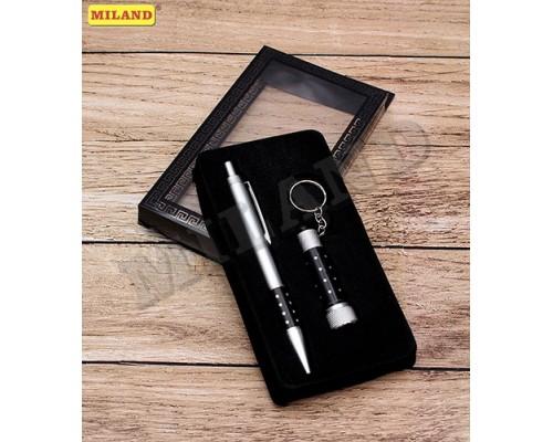 Подарочный набор 2 в 1 Большое спасибо (ручка, LED брелок-фонарик) черный