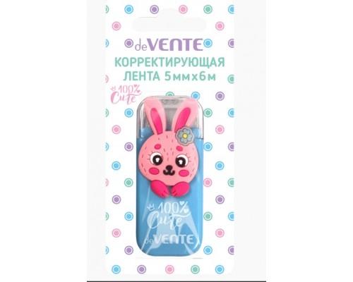 "Корректирующая лента 100% Cute. Rabbit"" 5ммx6м голубой непрозрачный корпус"
