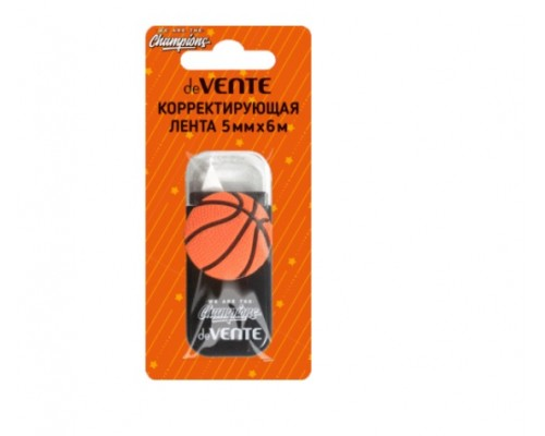 Корректирующая лентаdeVENTE. Champions. Basketball 5 ммx06 м, черный непрозрачный корпус