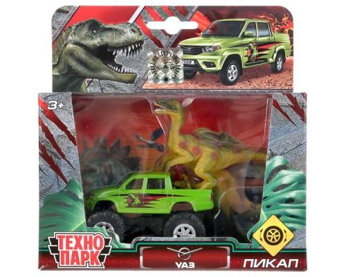 Машина металлическая ТЕХНОПАРК UAZ ПИКАП, 7,5 см + динозавр 9 см, кор.